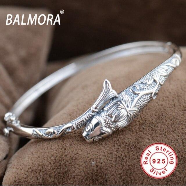 Урожай 100% реального чистая стерлингового серебра 925 мозаика рыбы браслеты браслеты для женщин подарок любовника Бесплатная Доставка SY50019