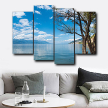 Laeacco 4 Panel Blue Sky Wall Artworkwork Posters and Prints Canvas Calligraphy Painting Nordic Home Living Room Decor