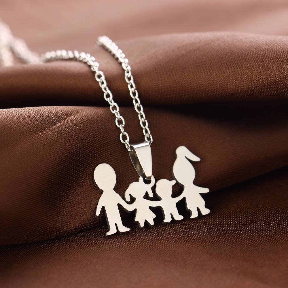 Stainless Steel Pendant Family Love Mom Dad Son Daughter