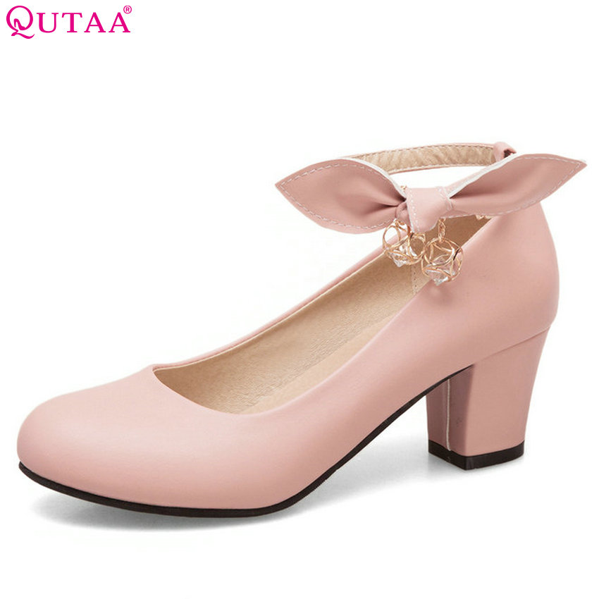QUTAA 2018 Women Pumps  Pink All Match Cute Pu Leaher Shoes Square High Heel Round Toe Spring/autumn Ladies Pumps Size 34-43 slhjc fashion 2017 summer autumn medium heel pumps square toe ribbon all match velvet sandals