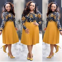 2019 autumn new african dresses for women printed vetsidos casual midi dress africa lady clothes spring summer clothing female