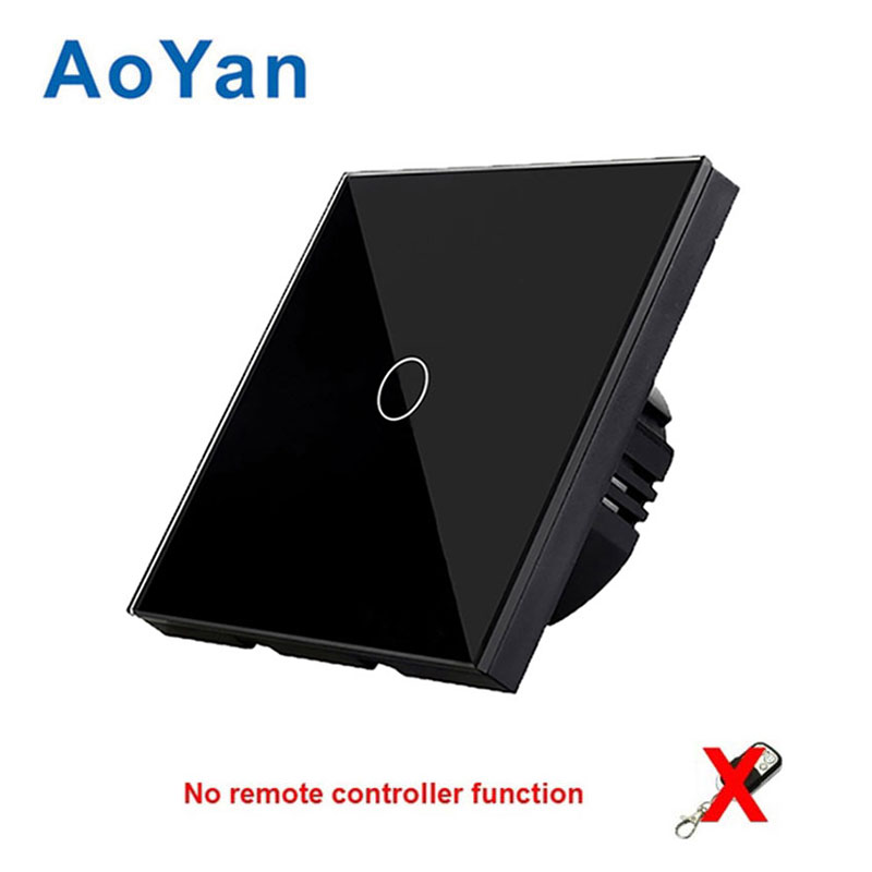 AoYan EU/UK Touch Switch 1 Gang 2 Gang 3 Gang 1 Way Wall Light Touch Screen Switch Crystal Glass Switch Panel white black colors eu uk standard touch switch 3 gang 1 way wall light touch screen switch crystal glass switch panel popular