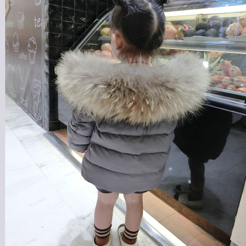 Kid Girl Boy Winter Down Jacket Clothing Warm Parkas Big Real Fur Coat Kids Clothes Winter Hooded Jackets for Boy Girl Outerwear