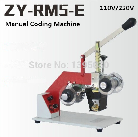 1pc 110V/220V Manual Coding Machine Date Printer Code Printer Printing Area 5cm ZY-RM5-E zonesun my 380 ink roll coding machine card printer produce date printing machine solid ink code printer painting type 220v