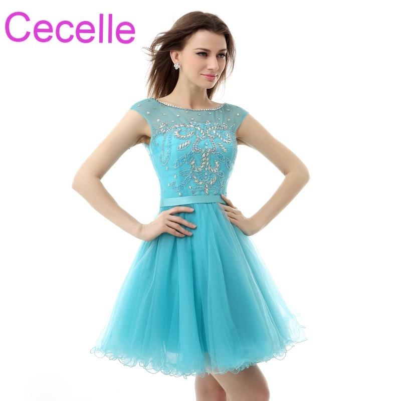 Blue Tulle Short Cocktail Dresses 2019