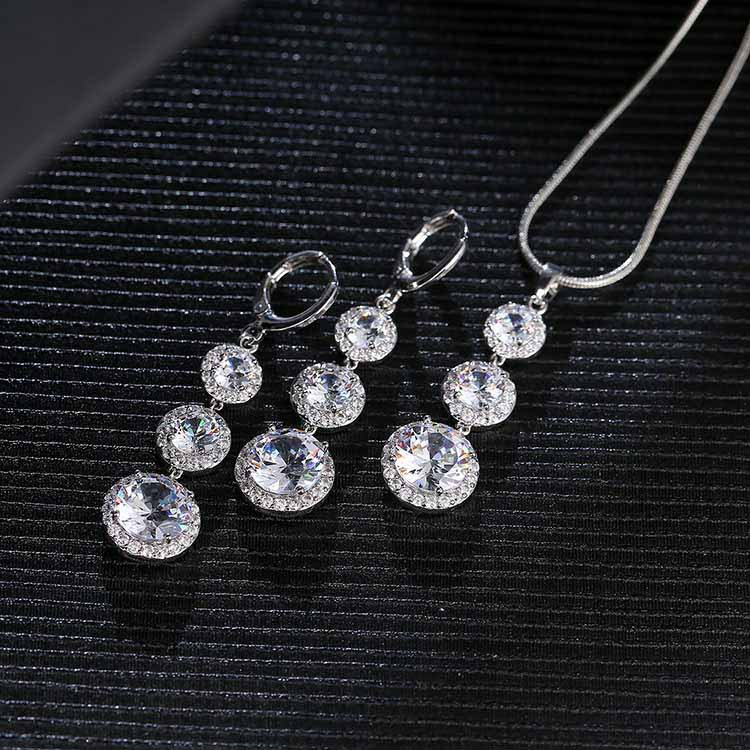 Magic white Silver 925 Costume Bridal Jewelry Sets Women Necklace&Pendant Earrings With Stones Rings Set Jewelery Gift