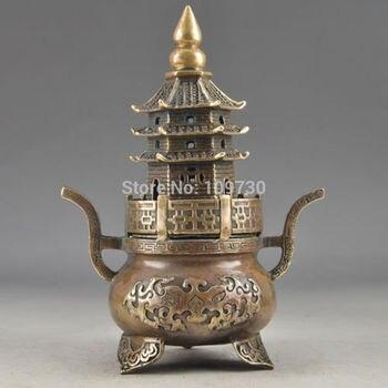 001953 Brass Buddha Exorcism Handwork Old Hammered Pagoda Totem Incense Burner