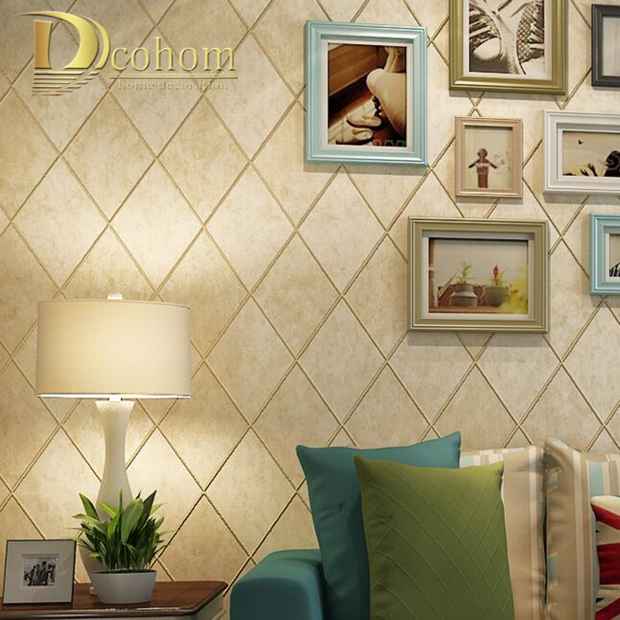 Vintage American Rustic Plaid Ceramic Tile Brick Wallpaper Bedroom Living Room Wall Decor Nonwoven 3d Wall