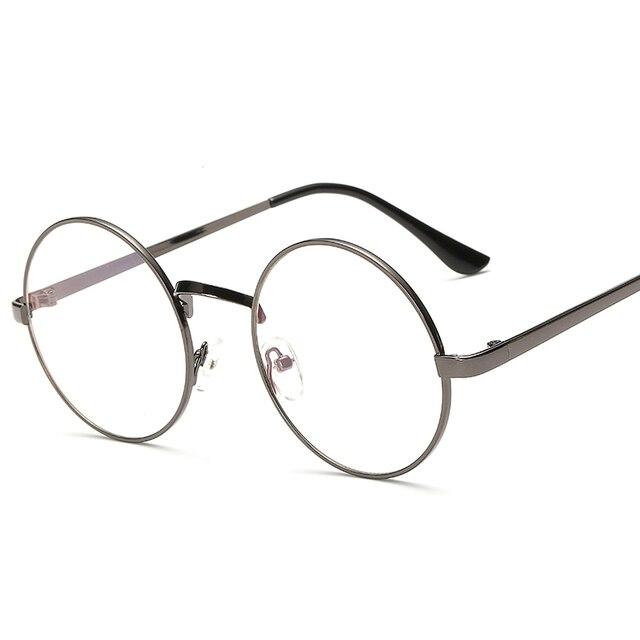bae24c80859 Hindfield Spectacle Plain Glasses Vintage Unisex Glasses Frame Big Round  Metal Optical Frame for Men Women Reading Glasses