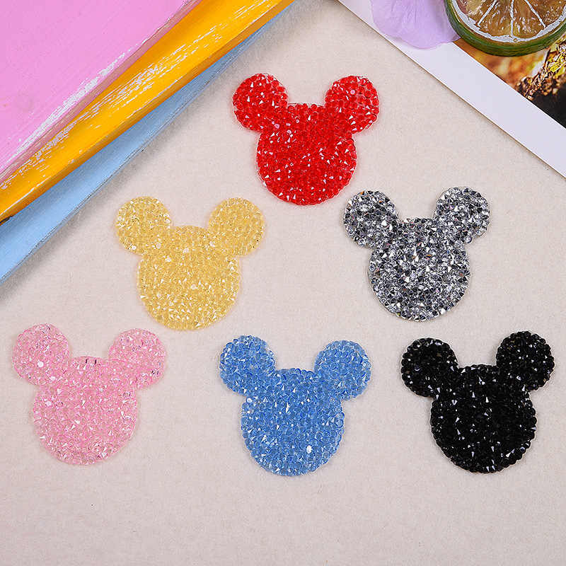 10pcs Sparkling mouse Embroidery Iron Patches for Clothing By Diamond  Rhinestones Black Iron on Stick Applique c6a36f360b79