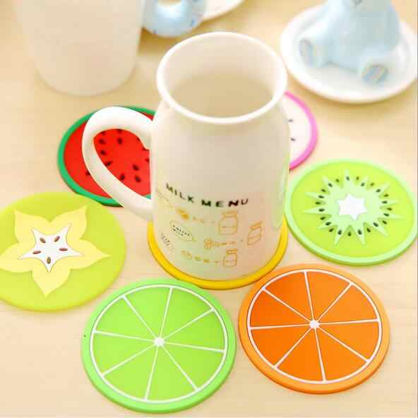 Fruits Coaster Novelty Anti Slip Cup Mat Cushion Holder Silicone Home Table decoration Drink Placement Mat 7 Styles for choose