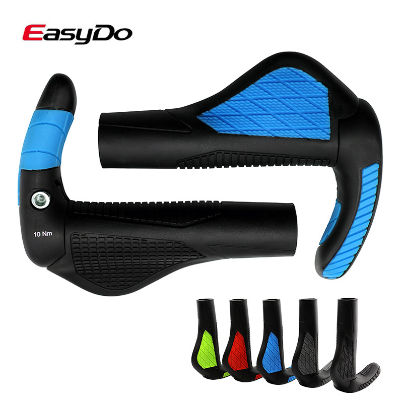 EasyDo Lock On Bike Bicycle Grips Ergonomic Soft Cycling MTB Bike Handlebar Grips Fiberglass Bar Ends Mountain Bike Handle Grips factory sale 1 set cycling mtb mountain road bike bicycle lock on carbon handlebar cover handle grip bar end bicycle parts