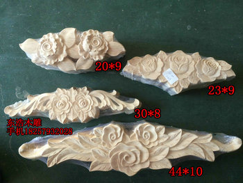 Solid wood long flower door applique rose fashion furniture wardrobe applique wood shavings dongyang wood carving decoration