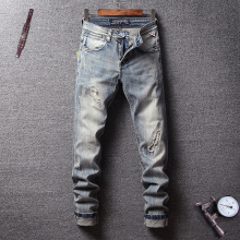 Fashion Classical Men Jeans Italian Vintage Style Slim Fit Ripped Elastic Denim Hip Hop Pants Streetwear Retro