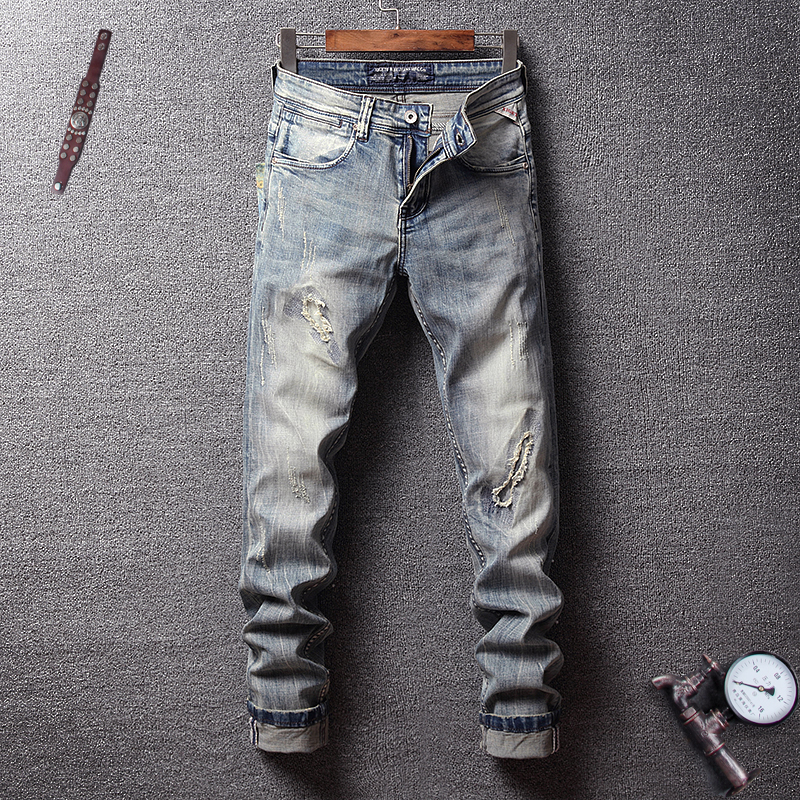Fashion Classical Men   Jeans   Italian Vintage Style Slim Fit Ripped   Jeans   Men Elastic Denim Hip Hop Pants Streetwear Retro   Jeans