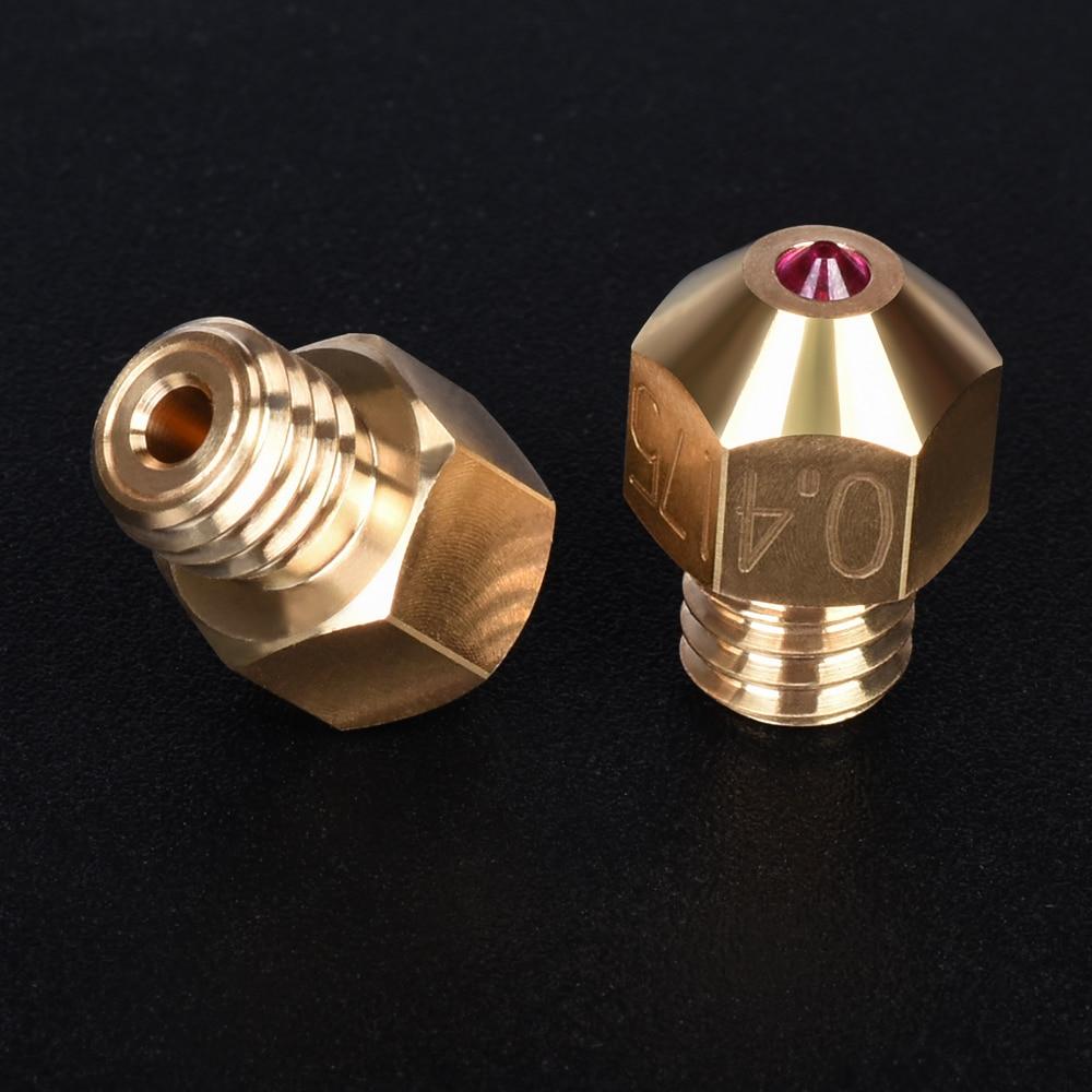 Pièces d'imprimante 3D MK8 rubis buse haute température en laiton 1.75 MM Filament Hotend pour PETG ABS SKR V1.3 PRO Ender 3 MK8 extrudeuse