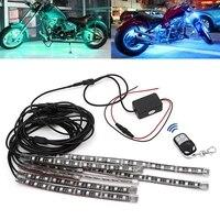 8 pces 5050 smd tira flexível rgb piscando luz led motocicleta de controle remoto