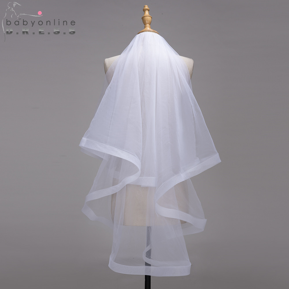 Wedding-Veil Voile Short Tulle Two-Layers Cheap Comb Ribbon-Edge Mariage With Veu-De-Noiva
