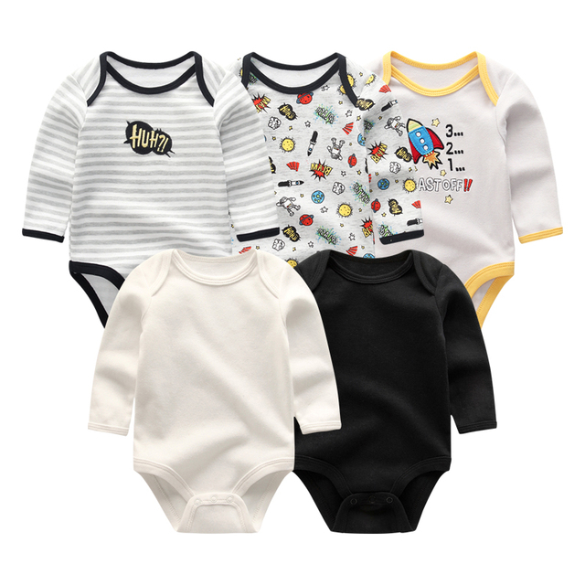 2019 5pcs/lot Baby Rompers Full Sleeve Cartoon Solid Print O Neck Fashion Cotton Baby Girl Clothes Boy Clothing Roupa de bebe