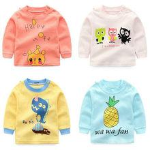 235c7b8d5 Marca Bebé Ropa niños niñas de dibujos animados camisetas de algodón niños  camisetas niños manga larga Camisetas niños Tops 9M-5.