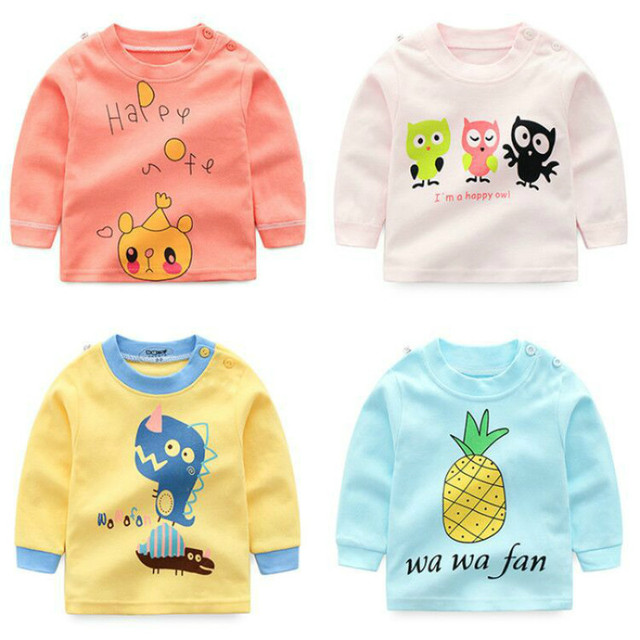 Brand Baby Boys Clothes Boys Girls Cartoon Cotton T Shirts Children Printed Tees Boys Long Sleeve T Shirts Kids Tops 9M-5Y