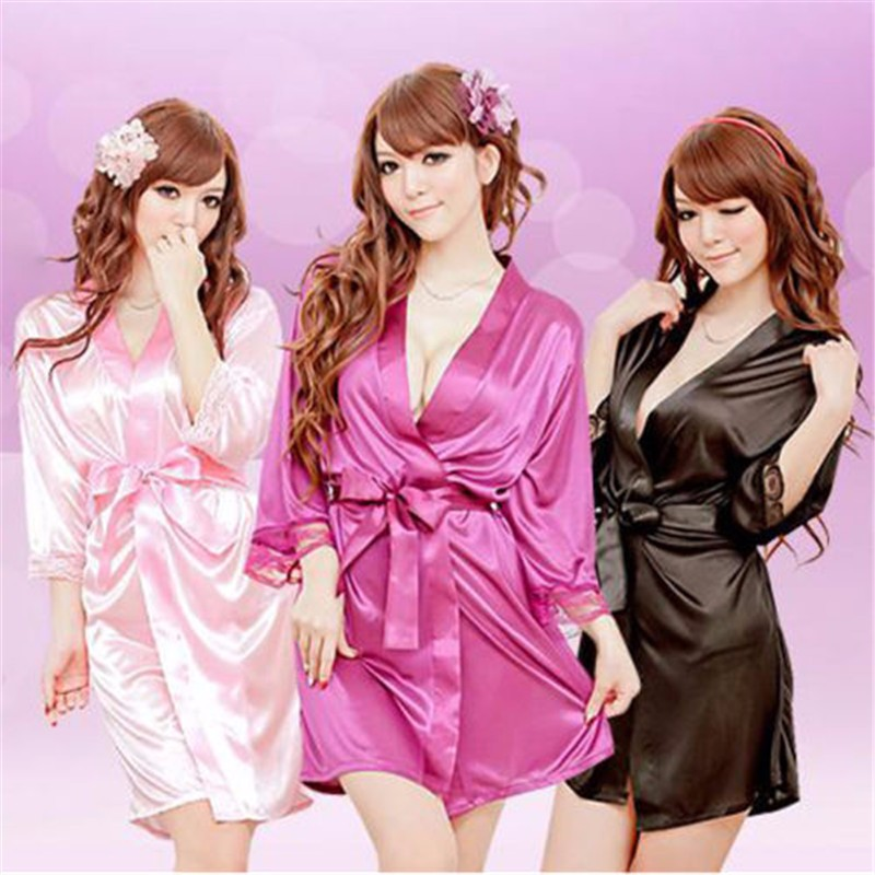 Female Sexy Temptation Women Dress V-neck Bathrobe Rayon Silk Sleepwear Sexy lingerieNightdress Robes kimono Women soft lingerie