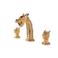 Luxury Brass Dragon Basin Faucet 3 Holes Artistic Tap Beast Golden Faucets Art Faucet Bathroom Sink Tap Double Handles