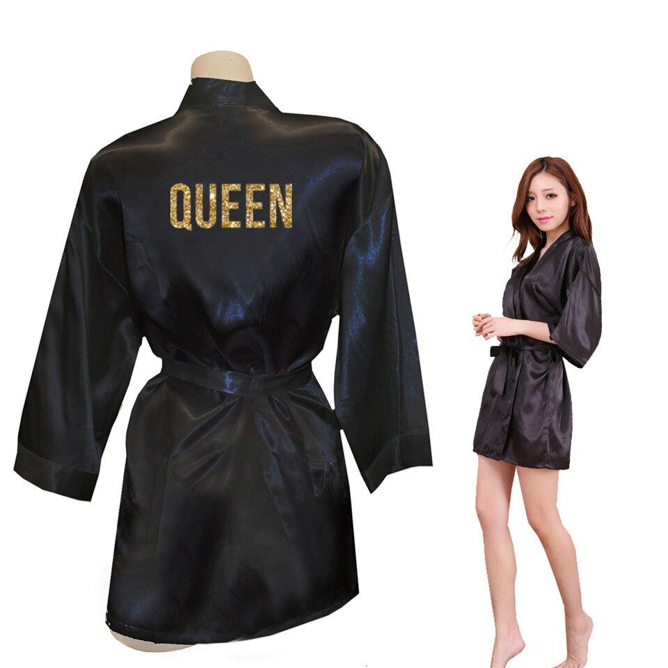 QUEEN Golden Glitter Print Kimono Robes Faux Silk Women Bachelorette Robes Men Gifts For Her Free Shipping