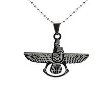 Black Stainless Steel Iranian Zoroastrian Farvahar Pendant Necklace 02  W/ Chain 60 Long