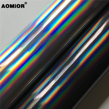 Premium Rainbow Chrome Silver Black Holographic Vinyl Wrap Decal Bubble Free For Car Wrapping Film Car Phone Laptop Console image