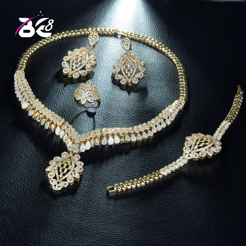 ef1df285b Be 8 Luxury Dubai Gold Color Jewelry Exclusive Cubic Zirconia Necklace  Earring Bracelet,Party Wedding