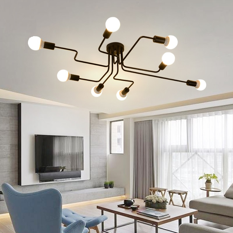 Image 3 - LED Chandelier Lighting Fixtures Lustre Vintage Led Lamp Industrial Kitchen Living Room Black Avize Modern Plafonnier Night Lamp-in Chandeliers from Lights & Lighting