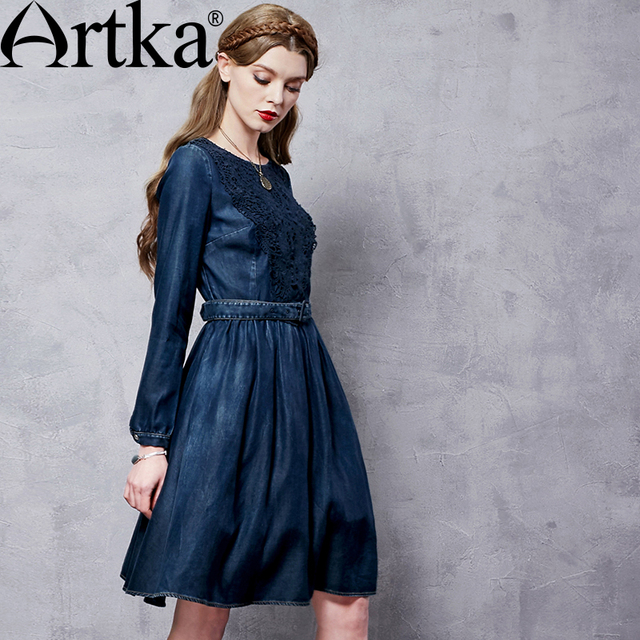 Artka Women's Autumn New Appliques Patchwork Denim Dress O-Neck Long Sleeve Empire Waist Wide Hem Dress With Sashes LN11168Q