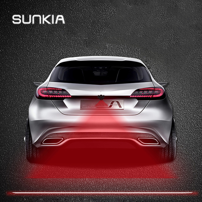 SUNKIA Anti Collision Rear-end Car & Motorcycles Laser Tail Fog Light Auto Brake Parking Lamp Rearing Warning Light Car Styling 3w rear end laser tail fog light auto brake parking lamp warning light for car black
