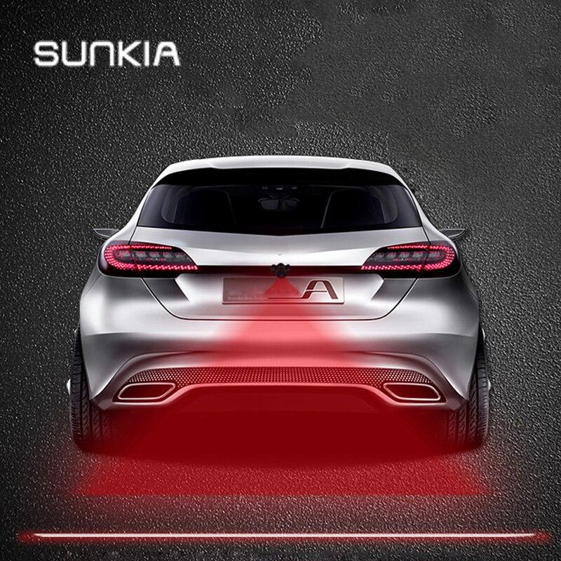 SUNKIA przeciwkolizyjne tylne klasy samochodów i motocykli laserowe światło przeciwmgielne automatyczne światło hamulca parkowania ostrzegawcze światło cofania Car Styling