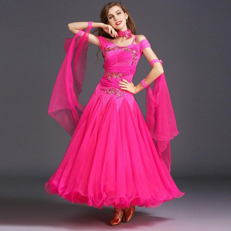 Sweet-Tempered 2017 Spring And Summer New Style Diamonds Slim Big Dance Modern Dance Dress New National Standard Dance Costumes