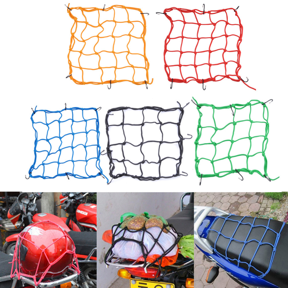 40*40cm Motorcycle Helmet Net Mesh for Storage Carrier Bags, Cargo Fix Net for Motorcycles, Helmet Sundries Net with 6 Metal Hook