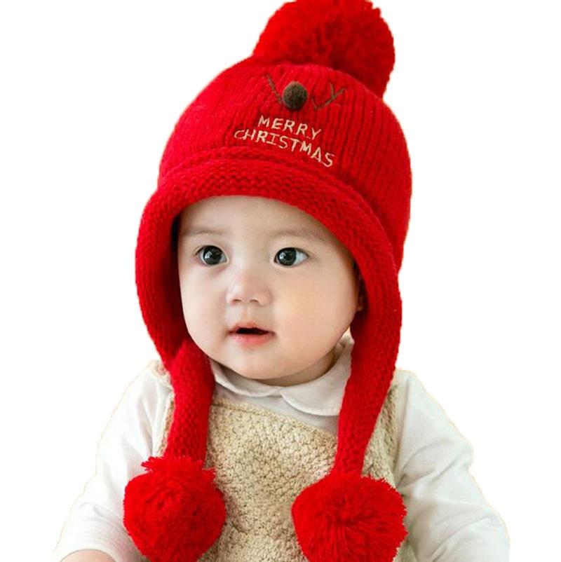 Unisex Beanies Child Christmas deer Horn Design Knit Earflap Bobbles Ear Hats Kid Winter Warm Add Velvet Earmuffs Caps MZ5222