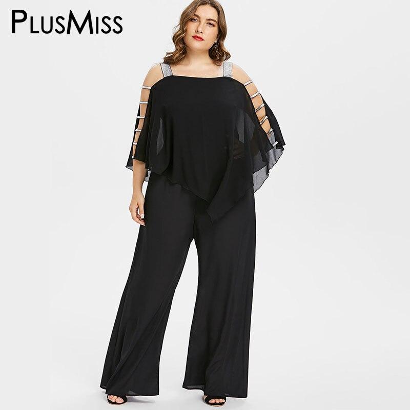 PlusMiss Plus Taille 5XL 4XL Sequin Off Épaule En Mousseline de Soie Cape Manteau Manches Salopette Sexy Pantalon Long Noir Salopette 2018 Grand taille