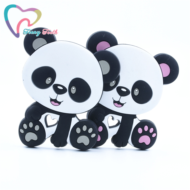 20 PCS Silicone Teether Cute Cartoon Panda Shaped Silicone Beads Baby Shower Gift Diy Necklace Accessories