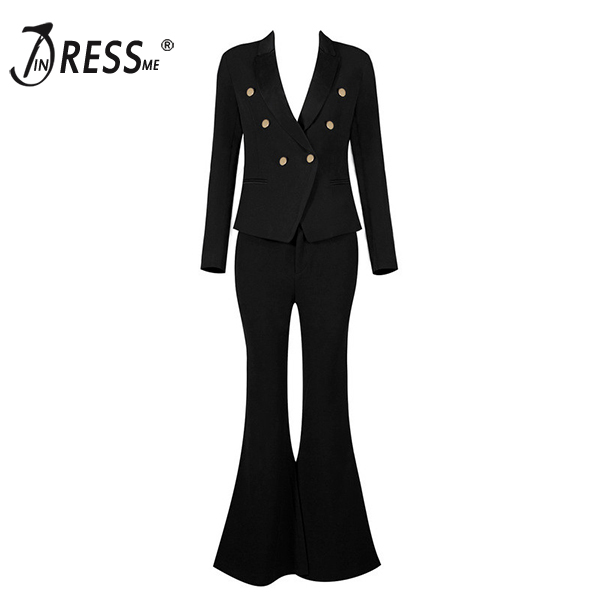 INDRESSME 2017 New Arrival Deep-V Black Women OL Elegant Pant Suits Sexy Fashion Business Style