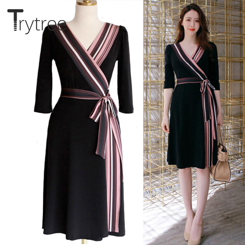 2abcfd9c Trytree Spring Summer Dress Women Casual 2018 shirt Polyester Black A-Line Half  Sleeve Dresses