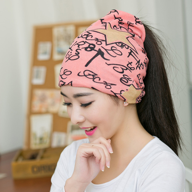 a37ae8184d6234 1PC New Spring&Autumn Pink Color Women Beanies Hat Scarf 3 Way To Wear  Multifunctional Popular Warm Girls Beanies
