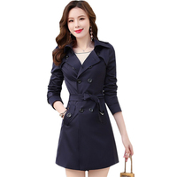 XS 6X Plus Size Trench Coat for Women Double breasted Slim Long Outerwear Spring Autumn Long Sleeve Windbreaker Coats RE2290