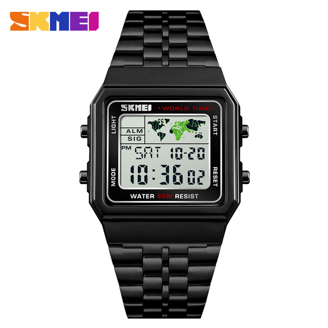 SKMEI Steet Mens Watches Business World Time Square Stainless Steel Digital Sport Chrono Wristwatch Waterproof Relogio Masculino