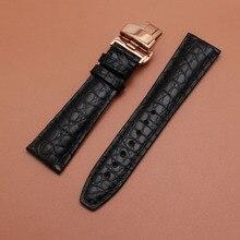 Jacaré crocodilo Pele de Couro Genuíno para homens pulseiras de relógio de Pulso 20mm 21mm 22mm com Rosegold Borboleta fivela de implantação