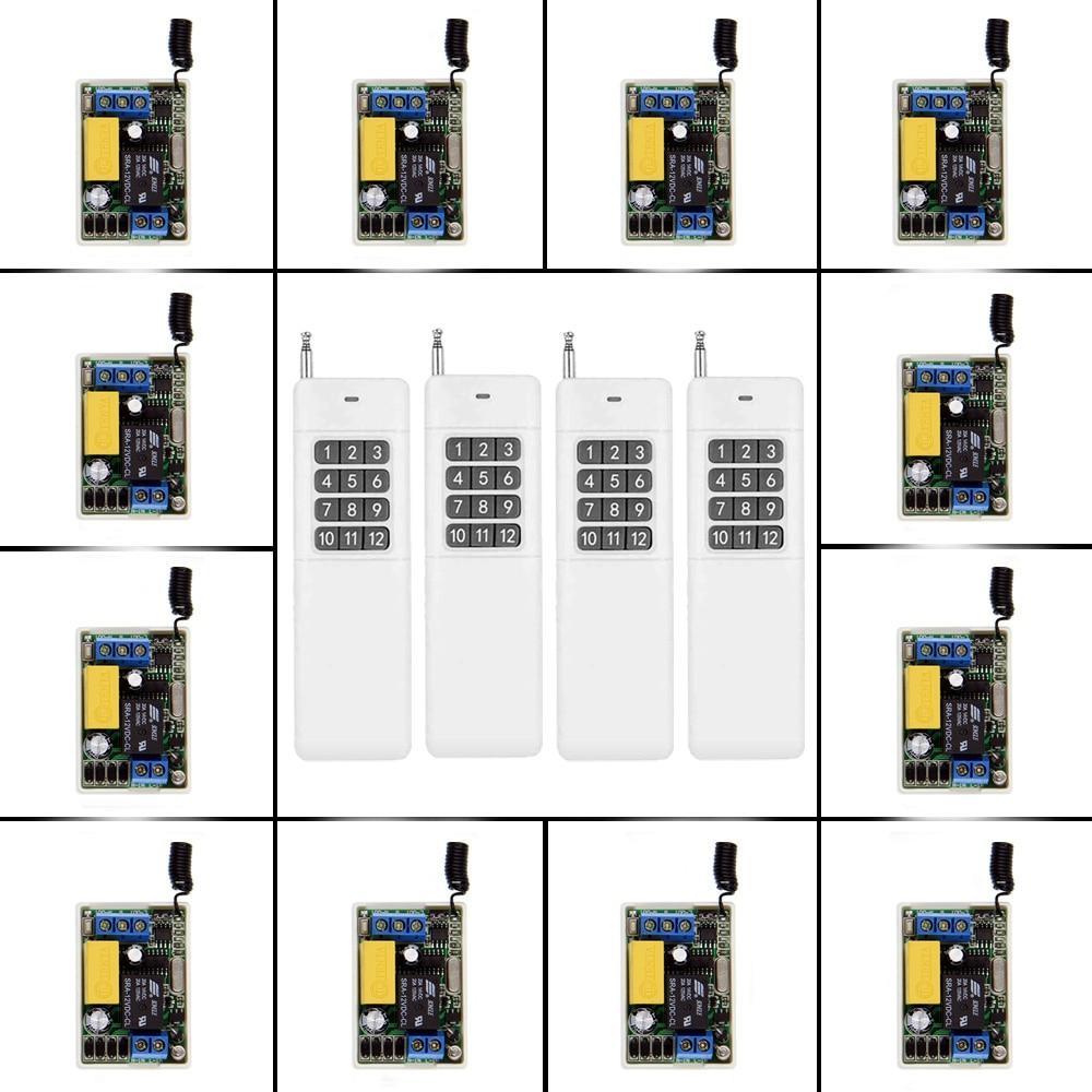 3000m Small Size 220V 1CH 1CH 10A Wireless Remote Control Switch Relay 12 X Receiver + 4 X Transmitter System ,315 / 433MHz дистанционный выключатель 3000 dc12v 1ch 1 4 315
