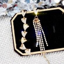 Korean Handmade Silver Needles Anti-allergy Heart Tassel Rhinestone Drop Earrings Dangle Earrings Fashion Jewelry-BYD5 цена