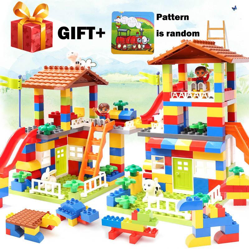 89pcs DIY Colorful City House Roof Big Particle Castle Educational Toy for Children Compatible legoergy DuPlo Building Block
