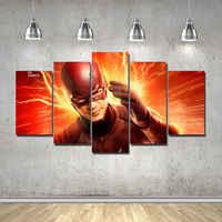Sanat Soyut Kapalı Dekor 20x35cmx2, 20x45cmx2, 20x55 cm Flaş Süper Kahraman Tuval Baskı dekor 5 adet Çerçeve ile